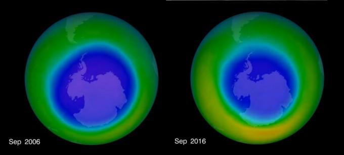 오존층 구멍의 크기가 최대치를 기록한 2006년(왼쪽) 대비 2016년에는 염화불화탄소(CFC·프레온)로 생기는 염소 원자가 줄어듬에 따라 오존층 구멍도 작아졌다. 최근 미국항공우주국(NASA) 연구진은 최초로 오존층 구멍 인근의 화학적 조성을 분석해 오존층의 회복 과정을 규명했다. - 미국항공우주국 제공